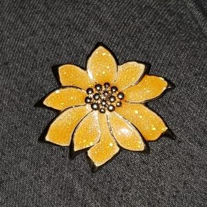 Vintage Avon yellow sparkle poinsetta brooch pin